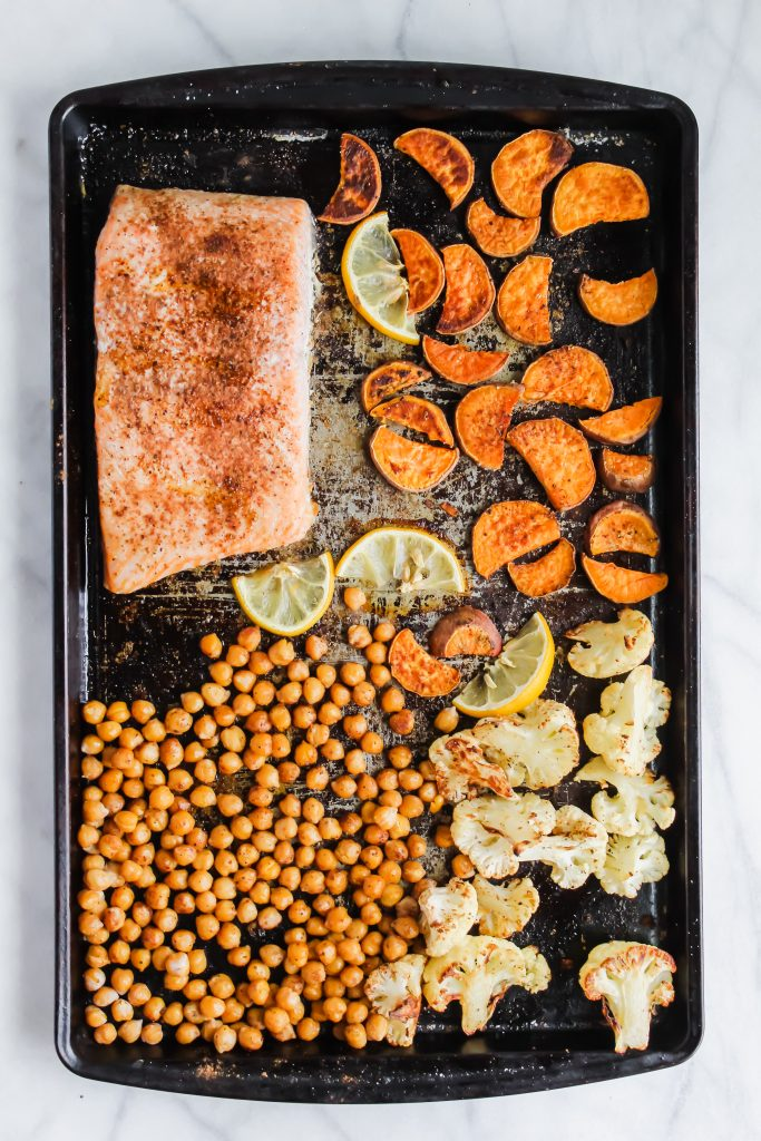 moroccan salmon and vegetables on a sheet pan
