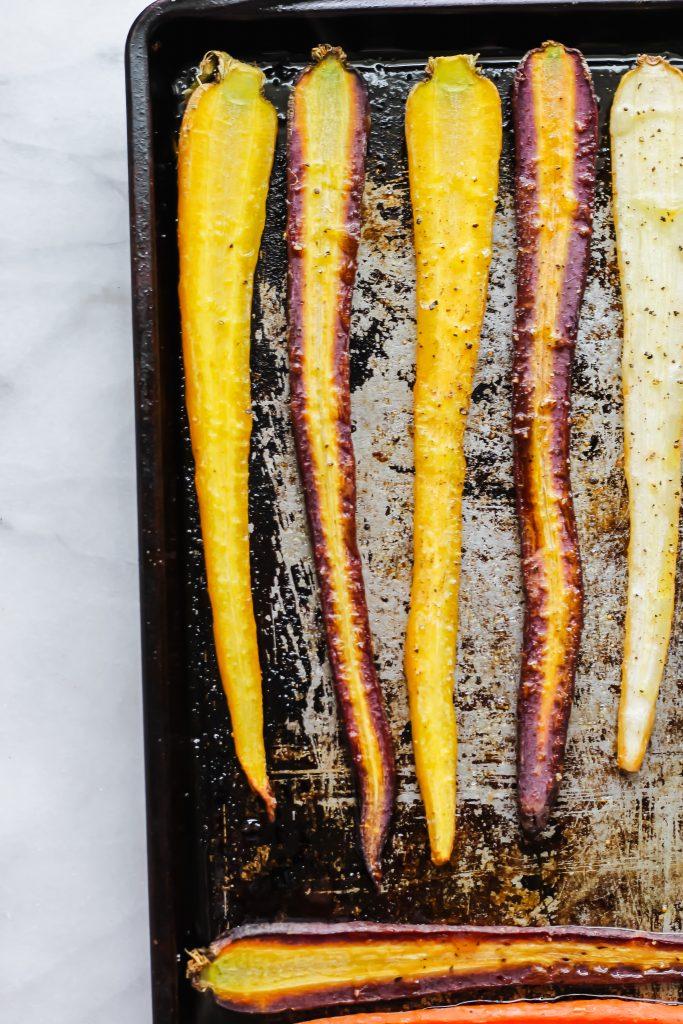 roasted rainbow carrots on sheet pan