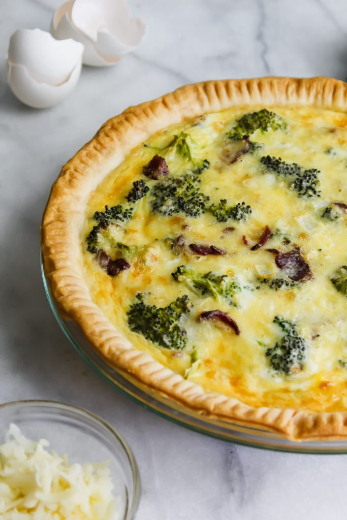 side view of Broccoli Cheddar Quiche with Bacon