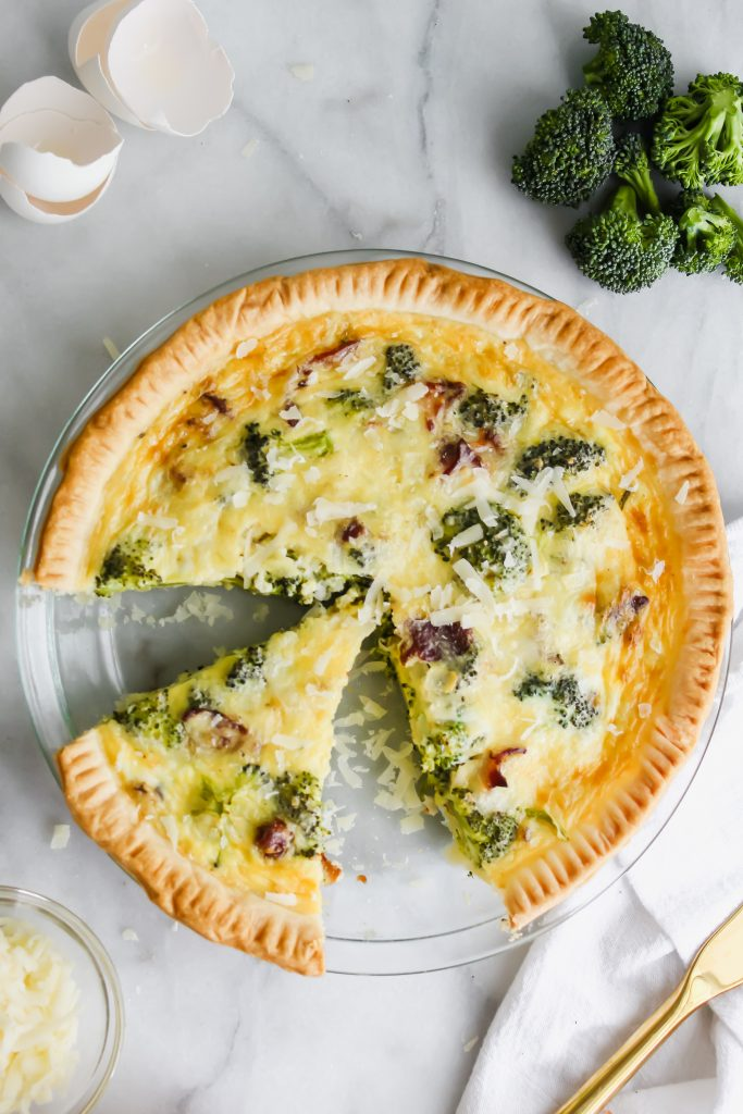 sliced Broccoli Cheddar Quiche with Bacon in pie pan