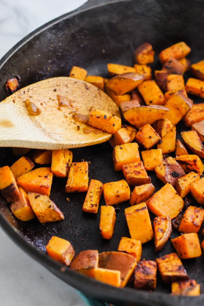 sweet potatoes in cast iron skillet