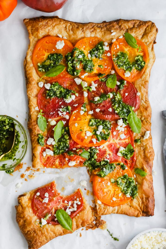 Heirloom Tomato Tart with slice cut
