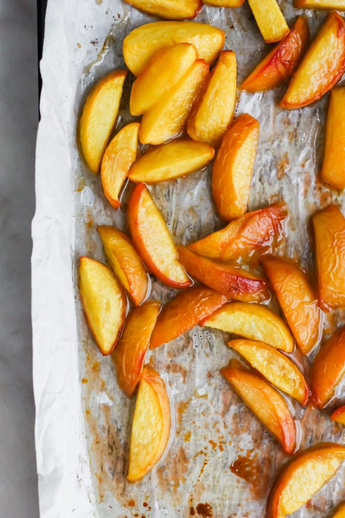 roasted peaches fresh out the oven
