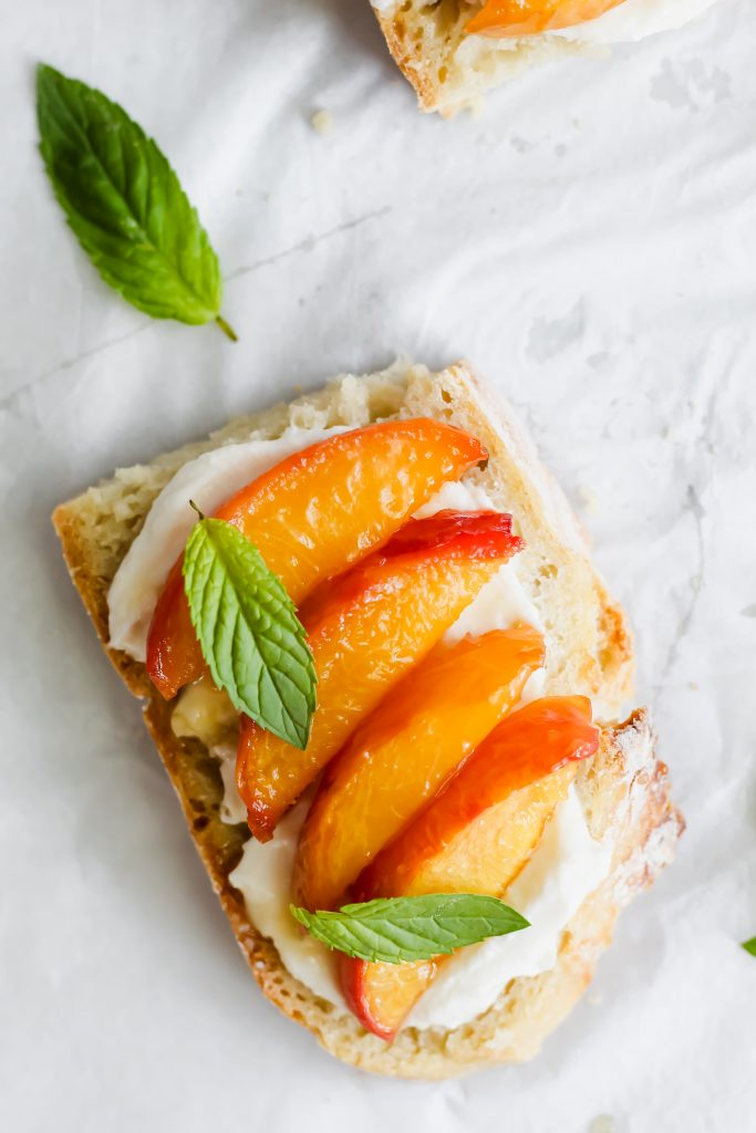 1 piece of Whipped Ricotta Toast with Roasted Peaches