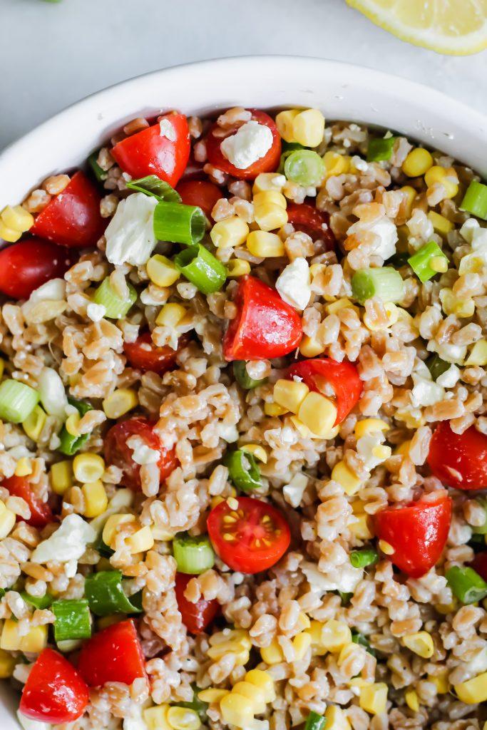 top half of bowl of Summer Vegetable Farro Salad
