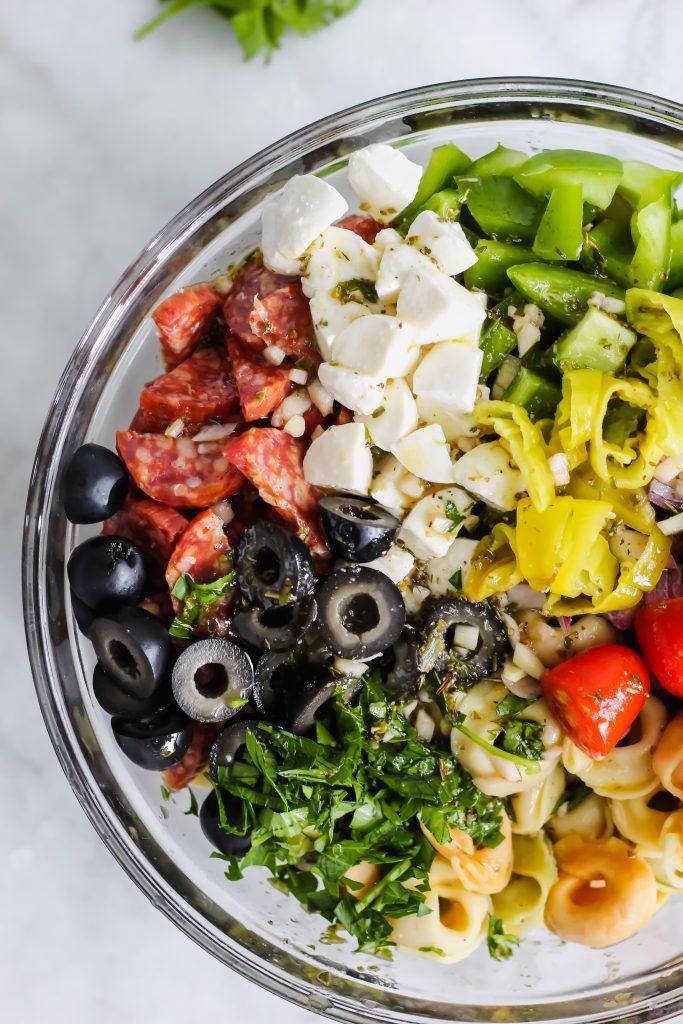 close up of Tortellini Pasta Salad with dressing