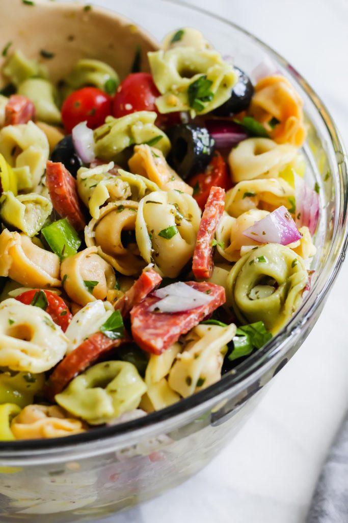 close up of mixed Tortellini Pasta Salad