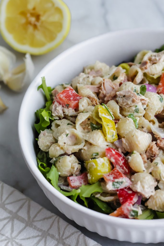 side angle of Loaded Tuna Pasta Salad