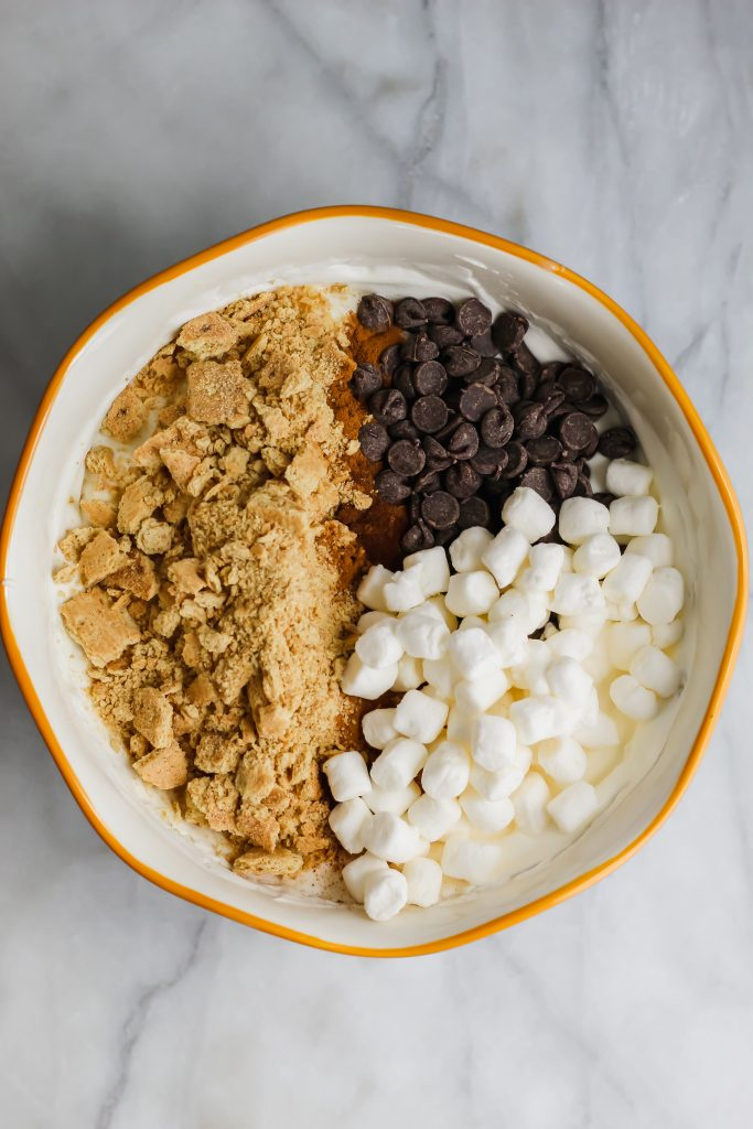 s'mores ingredient mix ins in bowl