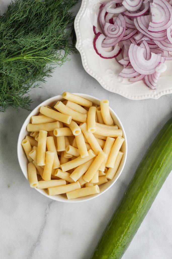 Creamy Cucumber Pasta Salad ingredients