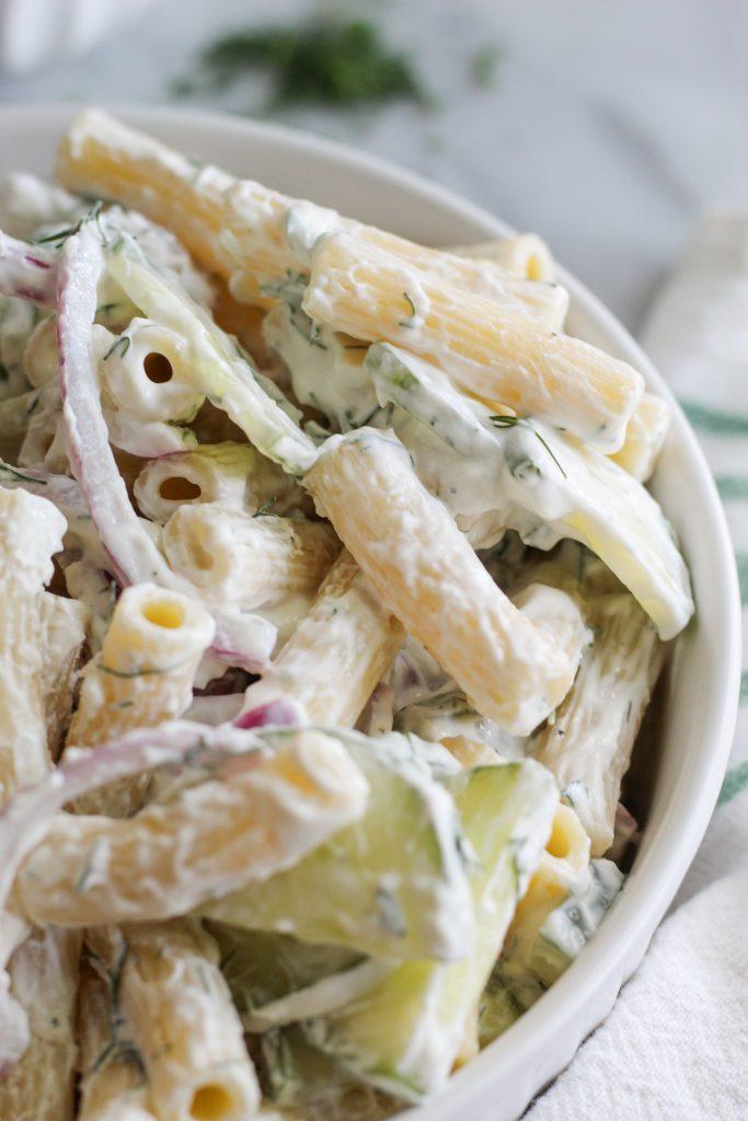 close up of Creamy Cucumber Pasta Salad