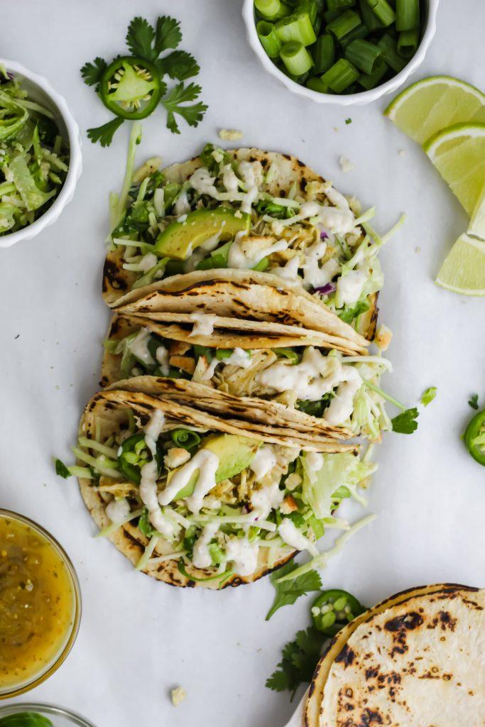 stacked Roasted Garlic Green Goddess Tacos