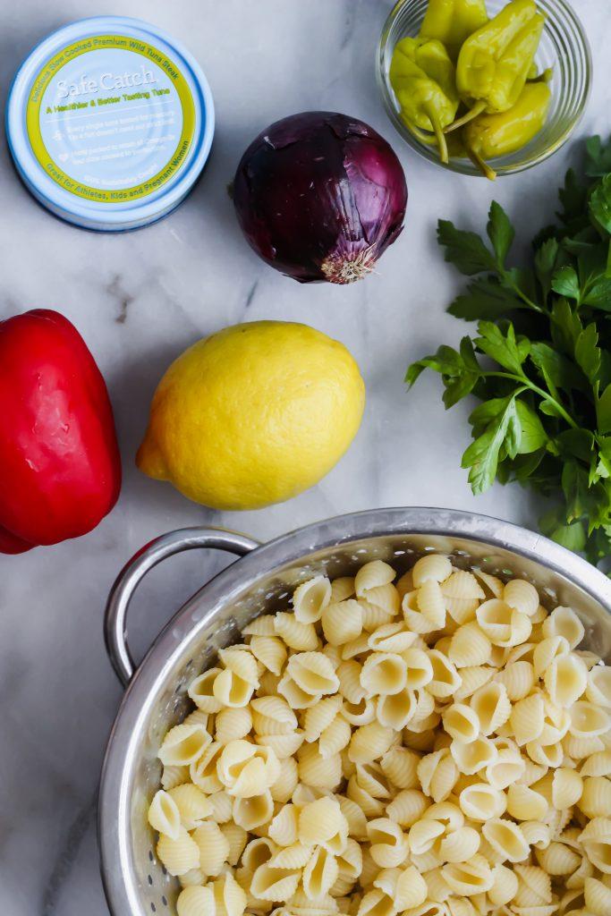 Loaded Tuna Pasta Salad ingredients