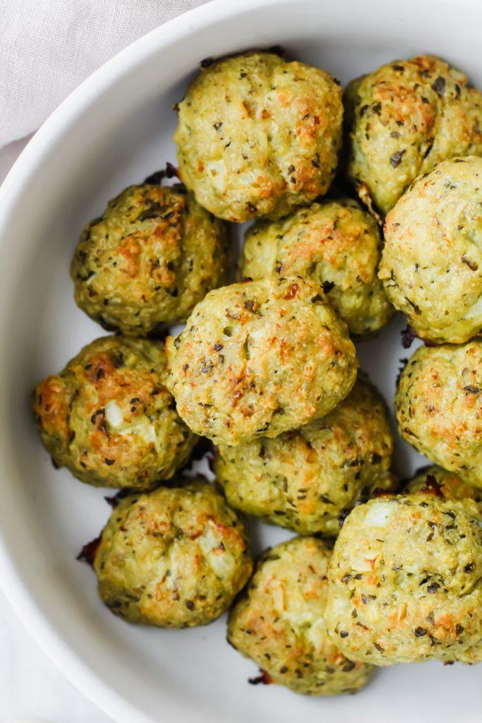 Chicken Pesto Meatballs in bowl