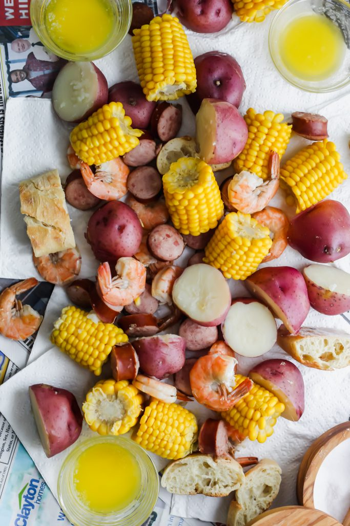 overhead view of Southern Low Country Boil
