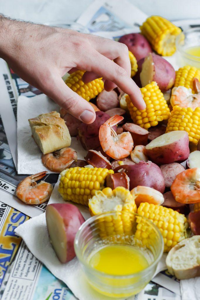 grabbing a shrimp