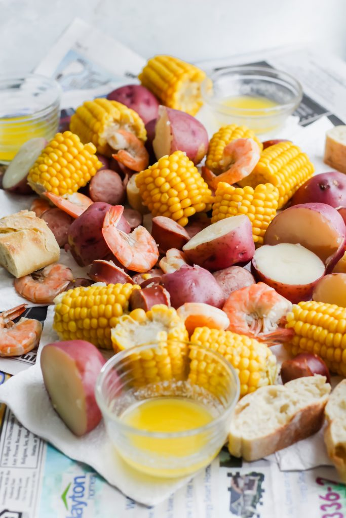 Southern Low Country Boil on newspaper side view