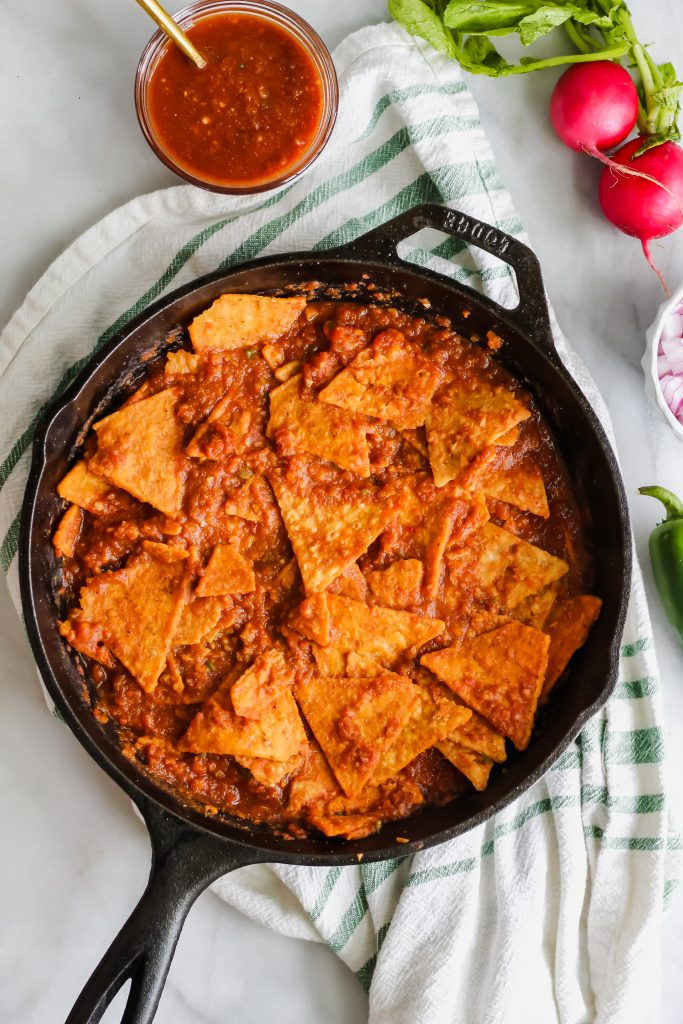 Spicy Chilaquiles without toppings in cast iron