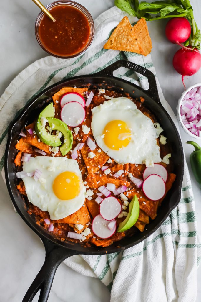 Spicy Chilaquiles in cast iron