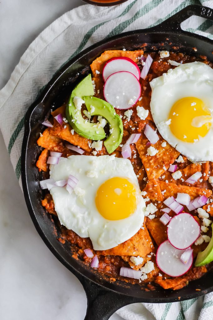 side view of Spicy Chilaquiles in cast iron