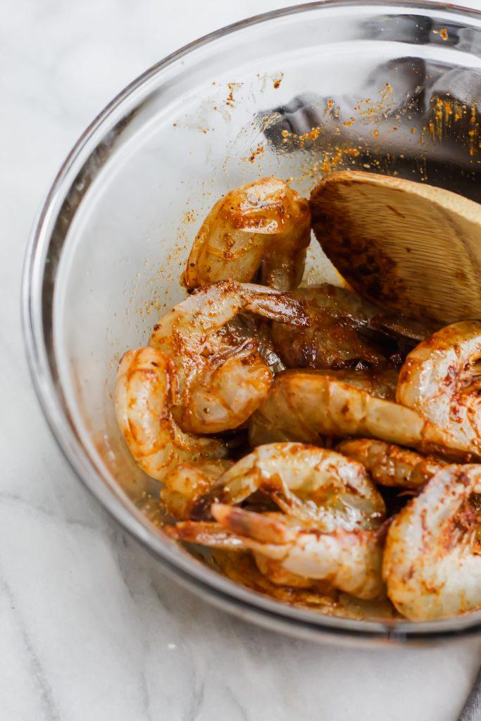 spicy shrimp marinating in bowl