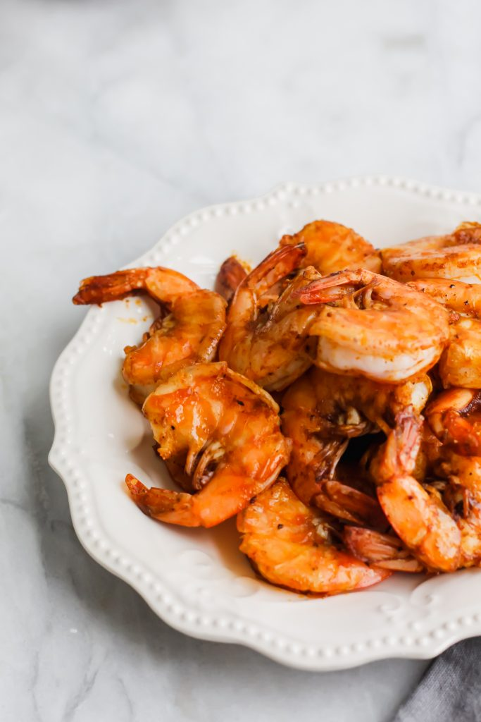 spicy shrimp cooked on plate