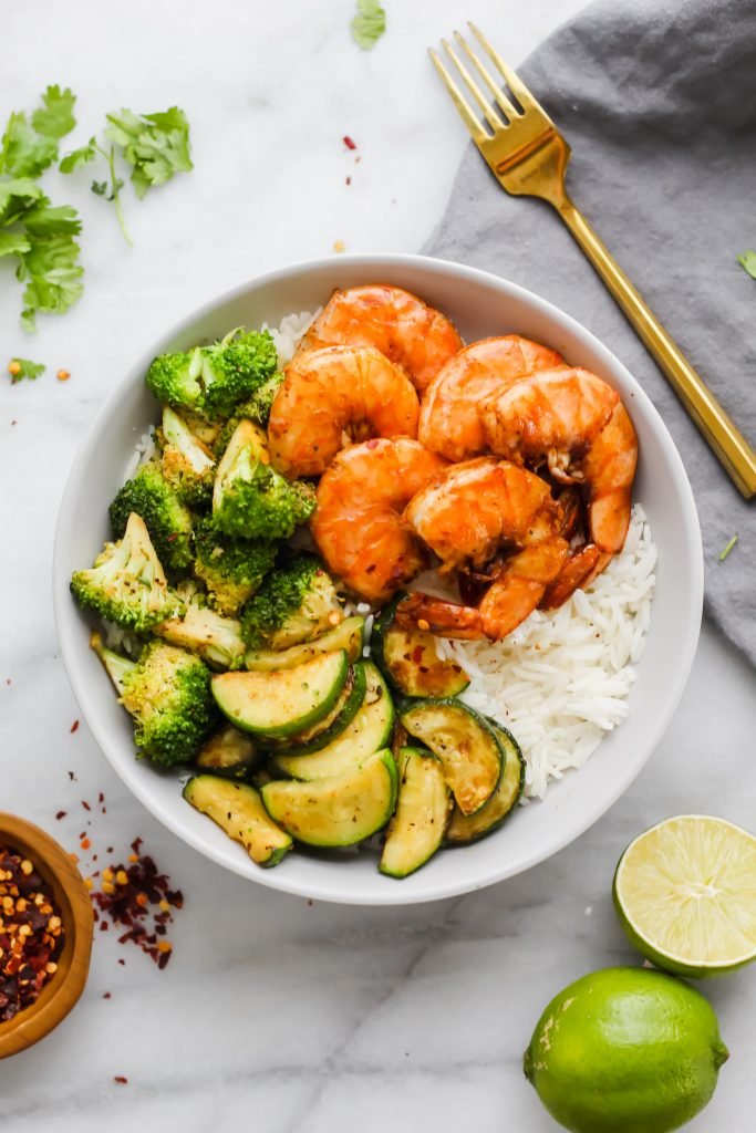 fully loaded Spicy Shrimp Bowl