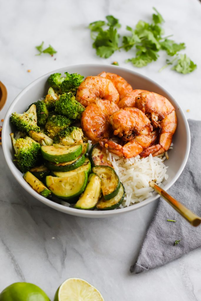side angle view of Loaded Spicy Shrimp Bowl