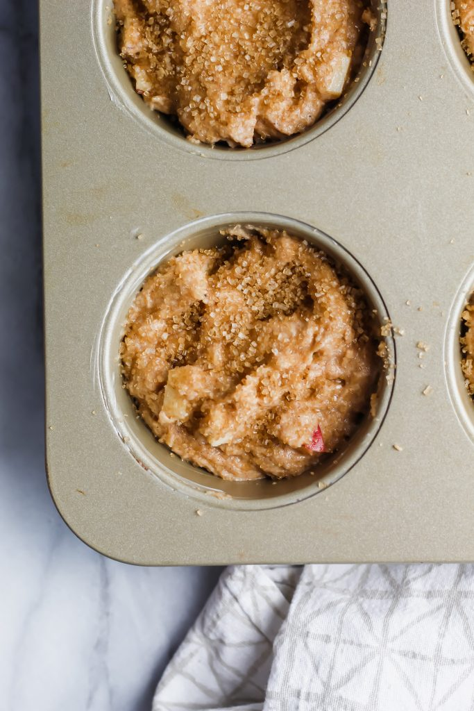pre-baked Cinnamon Apple Spice Muffins in muffin tin