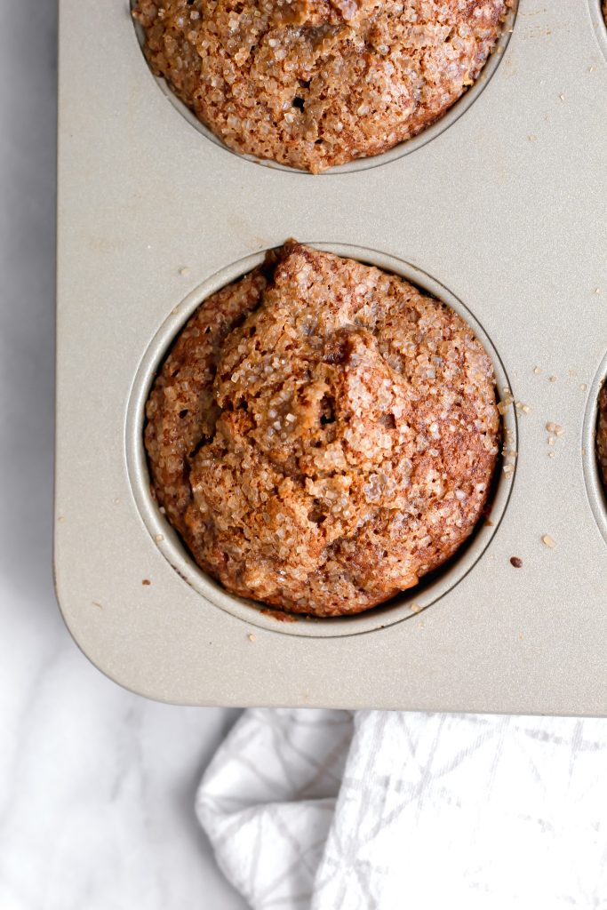 baked Cinnamon Apple Spice Muffins in muffin tin