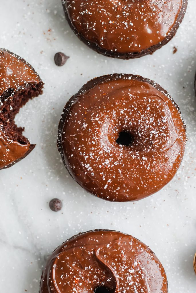 Baked Mexican Mocha Donuts with powdered sugar