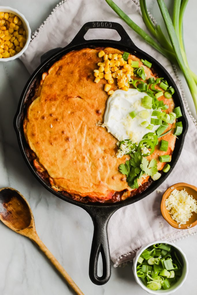 freshly baked and topped skillet chili cornbread casserole