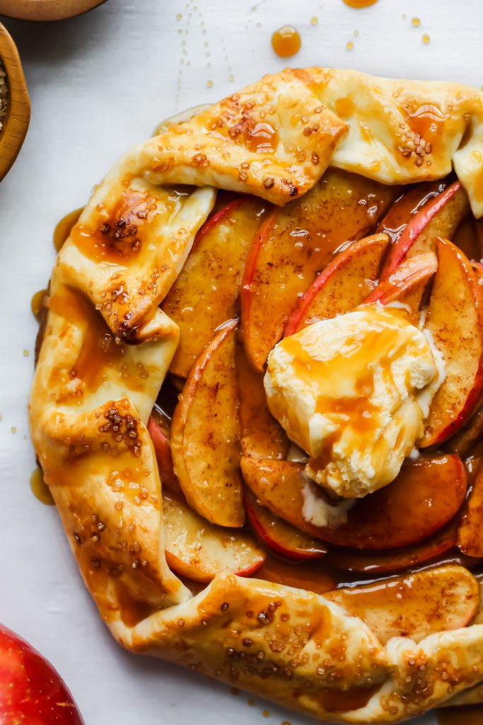 side view of Salted Caramel Apple Galette